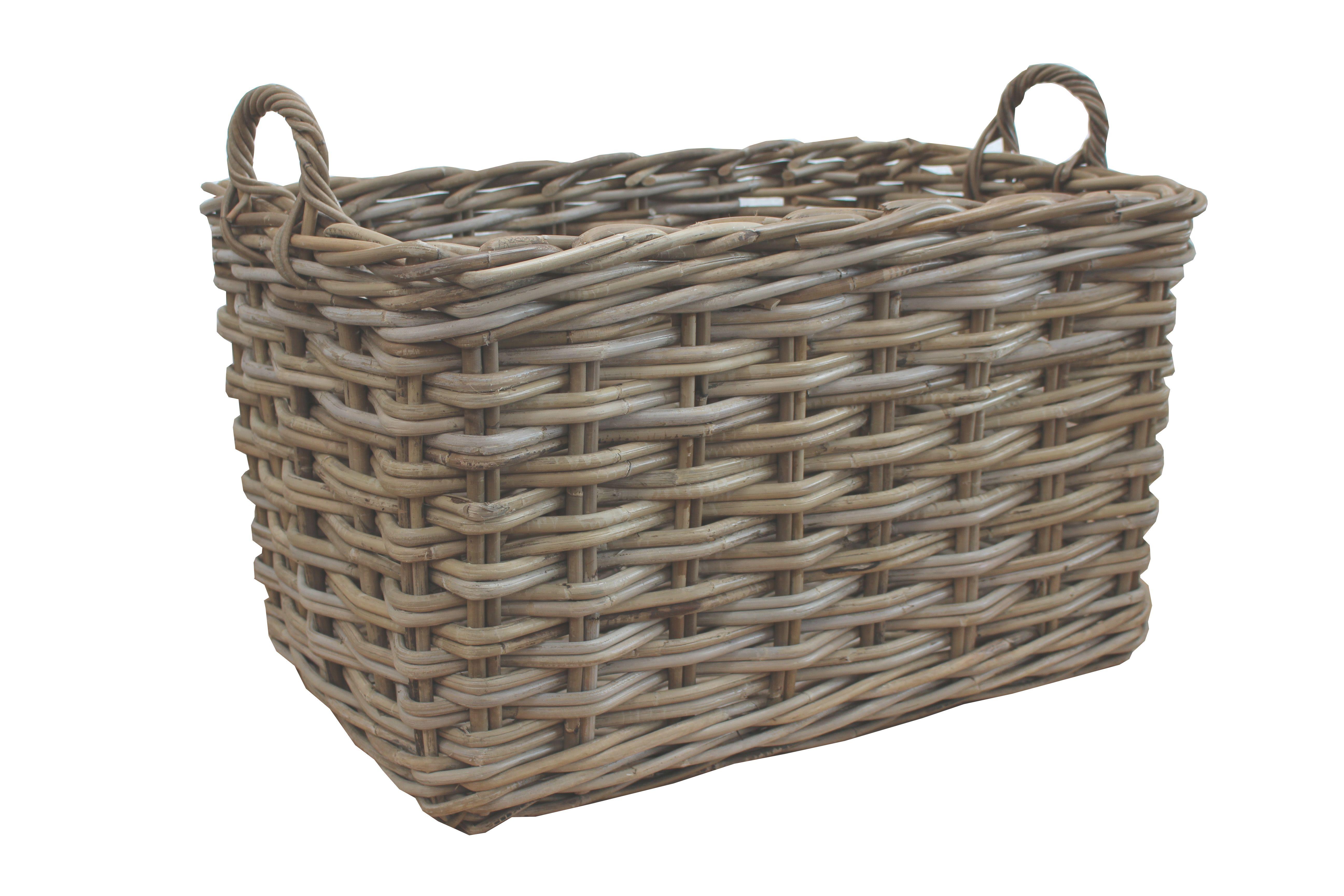 Large Grey Buff Rattan Wicker Storage Basket Integral Handles Drawer Logs Wood