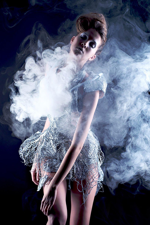 Smoke Dress 2012 By Fashiontech Designer Anouk Wipprecht And Textiles Smart Wearable Technology Knitting Technologist Aduen Darriba