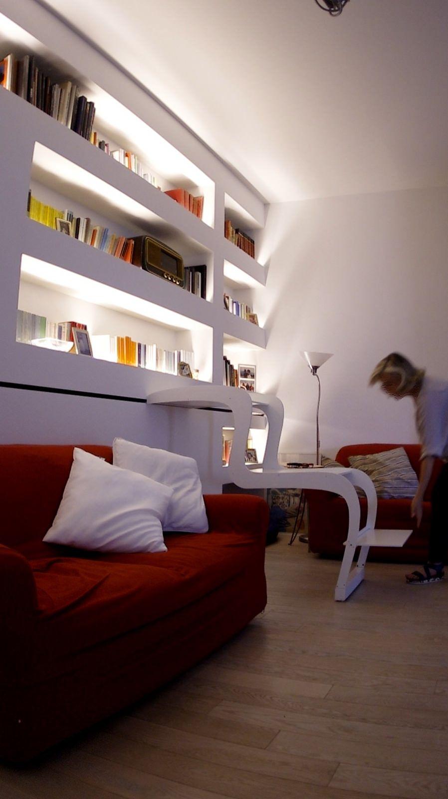 Mensole Cartongesso Sopra Divano.Morsab005 Scala Scorrevole Arredamento E Librerie