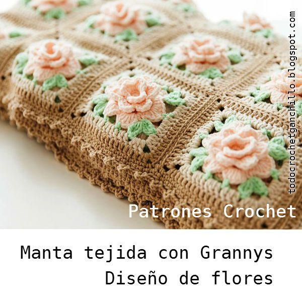 Patrones de cubrecama de flores crochet con grannys | Tejidos ...