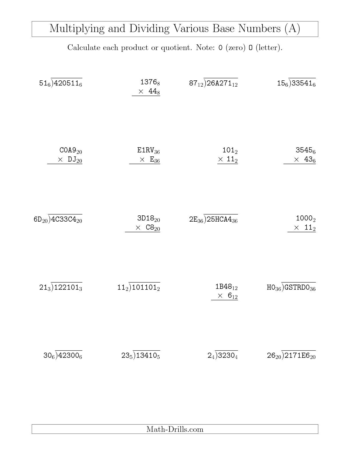 New Multiplying And Dividing Various Base Numbers A Math Worksheet Freemath Plus Individual