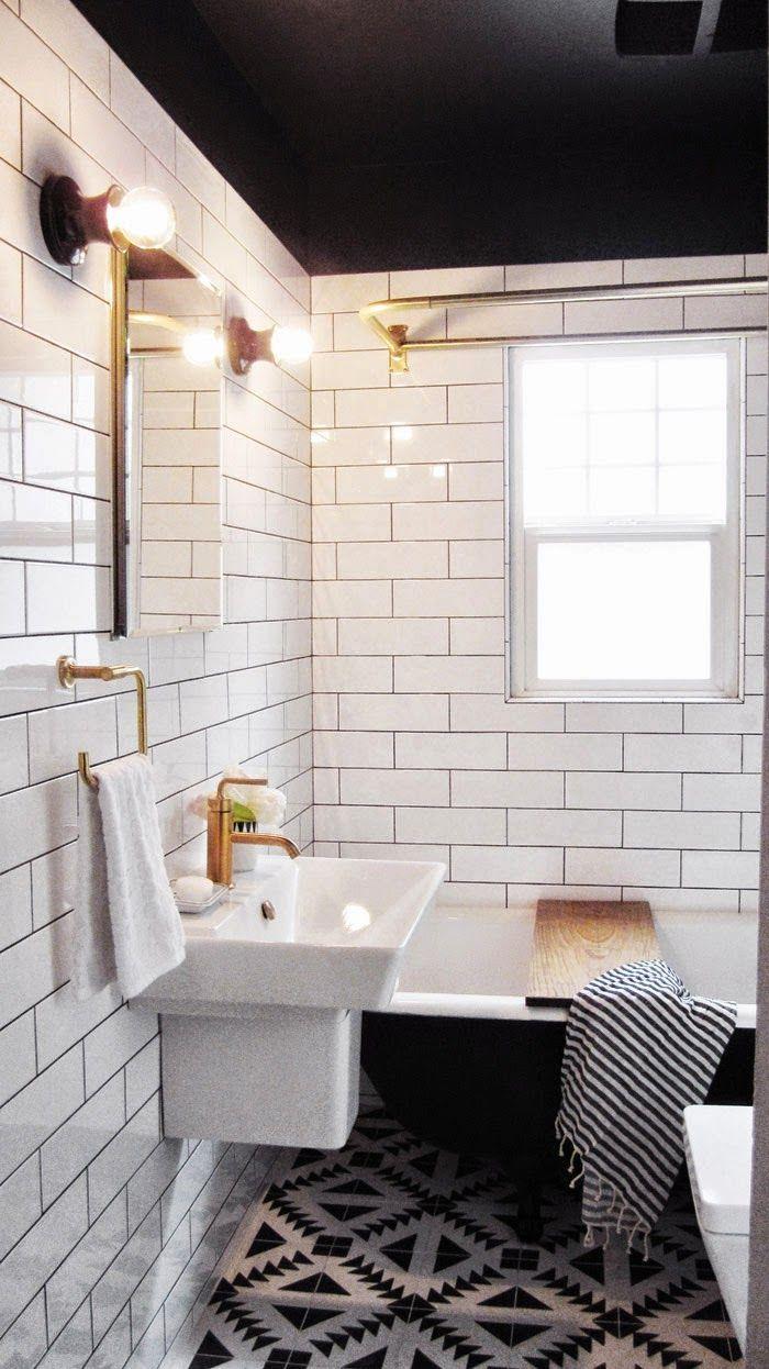 Capree Kimball\'s Bathroom Makeover | White tiles, White tiles black ...