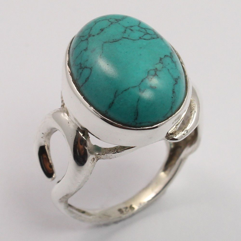 925 Solid Sterling Silver Delicate Ring Size US 7 Oval TURQUOISE (S) Gemstone #SunriseJewellers #Fashion