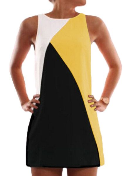Fvogue Loose Patchwork Sleeveless Round Neck Short Day Dress----$5.99