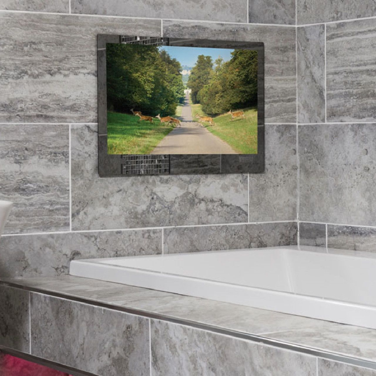 Add A Touch Of Luxury To Your Bathroom With A Bathroom Tv Fully Waterproof And Mist Free Our Bathroom Tvs Tv In Bathroom Bathroom Technology Dream Bathrooms