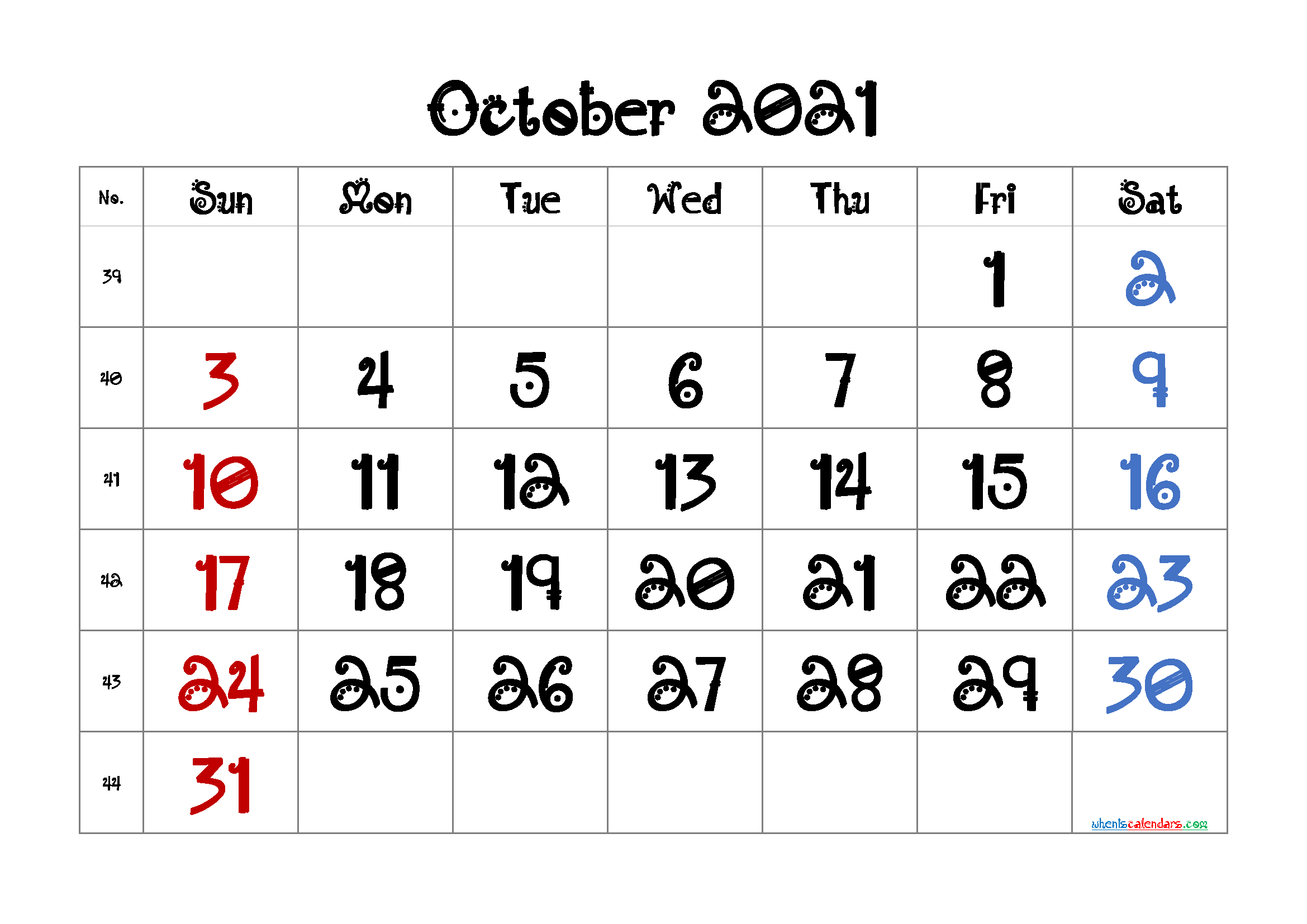 Printable October 2021 Calendar Monthly Calendar In 2020 Monthly Calendar Printable Calendar Printables 2021 Calendar