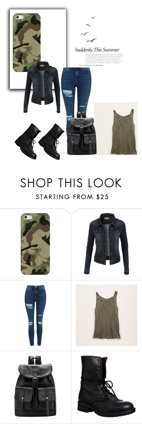 """""""best look ever"""" by alyssacam on Polyvore featuring Casetify, LE3NO, Topshop, Aerie and Steve Madden"""