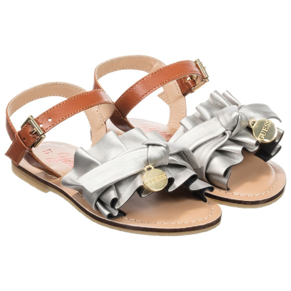 eef06c8e5b0c Girls Silver Leather Sandals for Girl by Guess. Discover more beautiful  designer Shoes for kids online