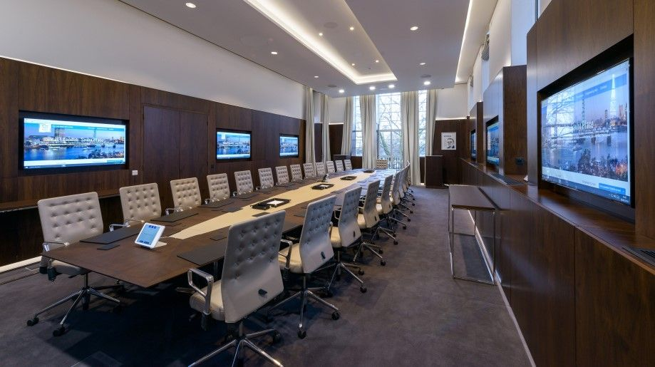 Rooms: Modern Boardroom Design With Led Wooden Work Ceiling Table