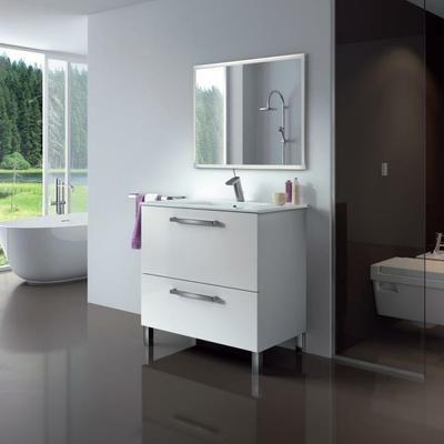 URBAN Ensemble salle de bain simple vasque L 80 cm - Blanc brillant