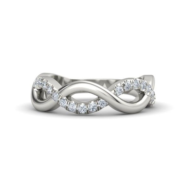Infinity Twist Band 5 Loops 14k White Gold Ring With