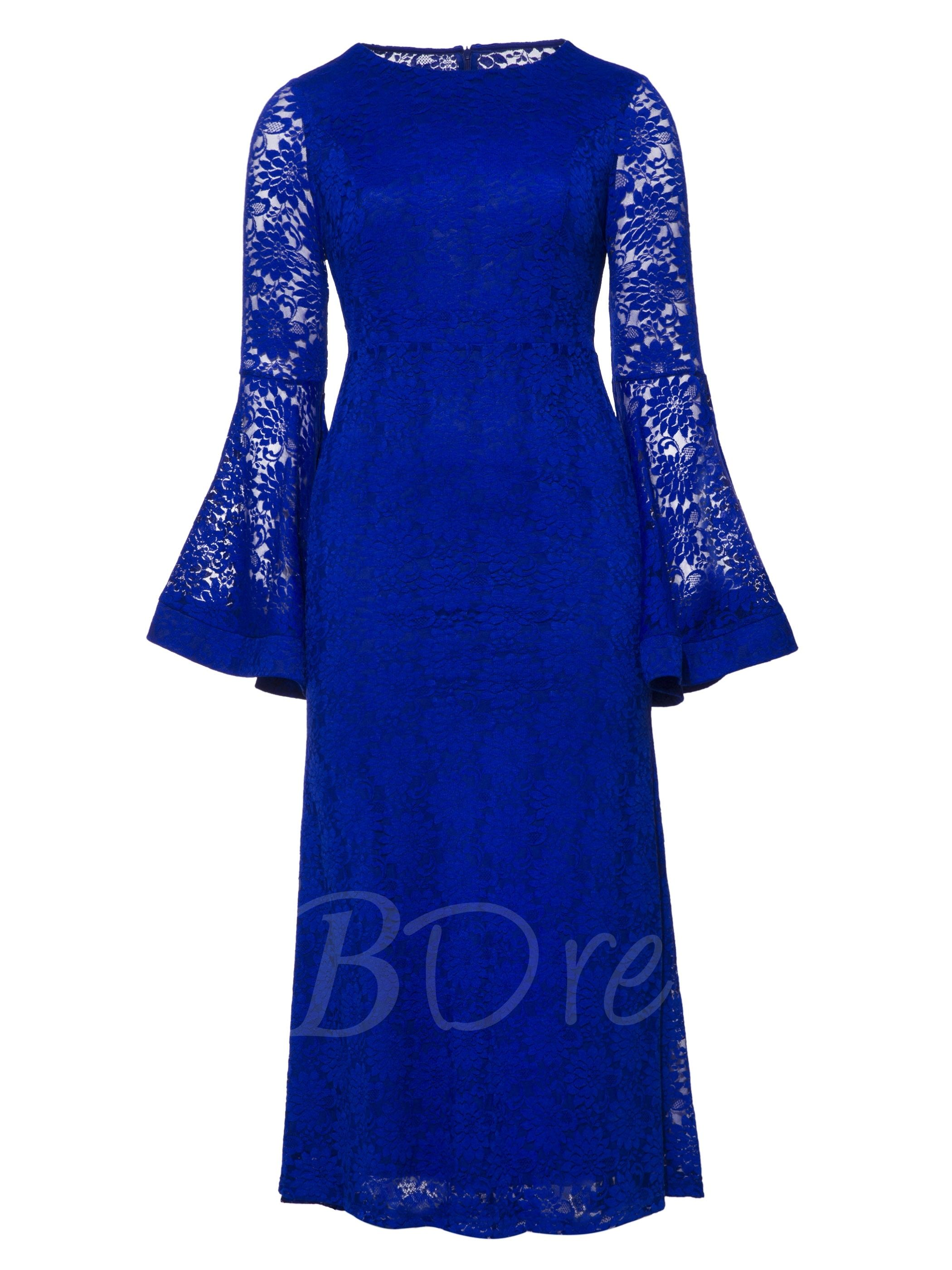 Royal Blue Bell Sleeve Plus Size Womenus Lace Dress in