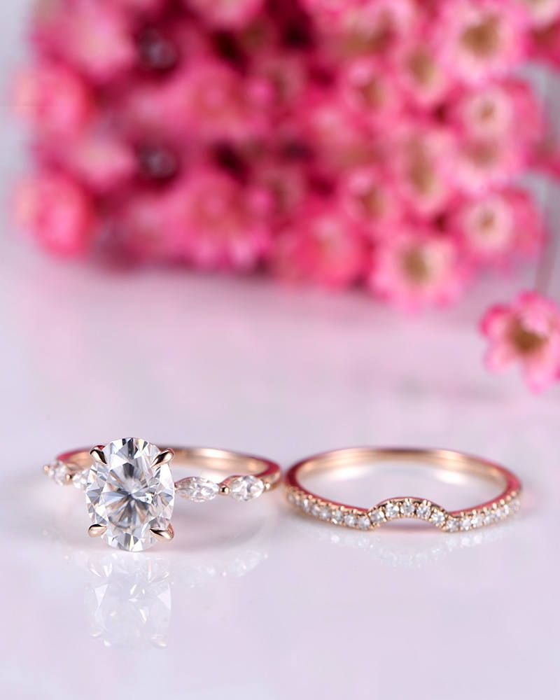 Wedding ring set moissanite engagement ring with art deco moissanite ...