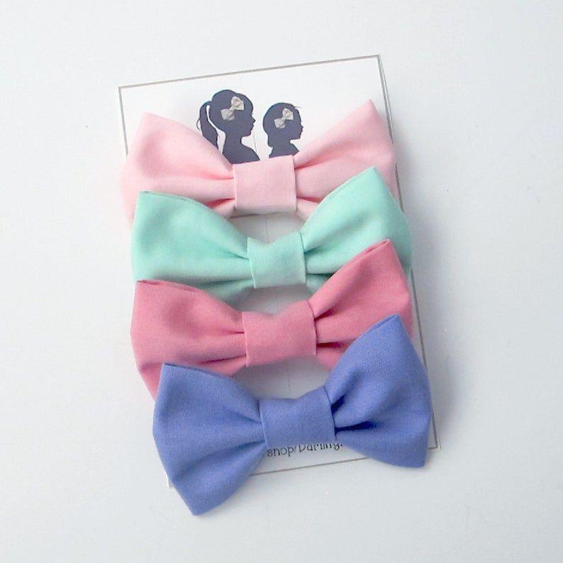Felt Tie Bow Set // Headband or Clip   Felt bows