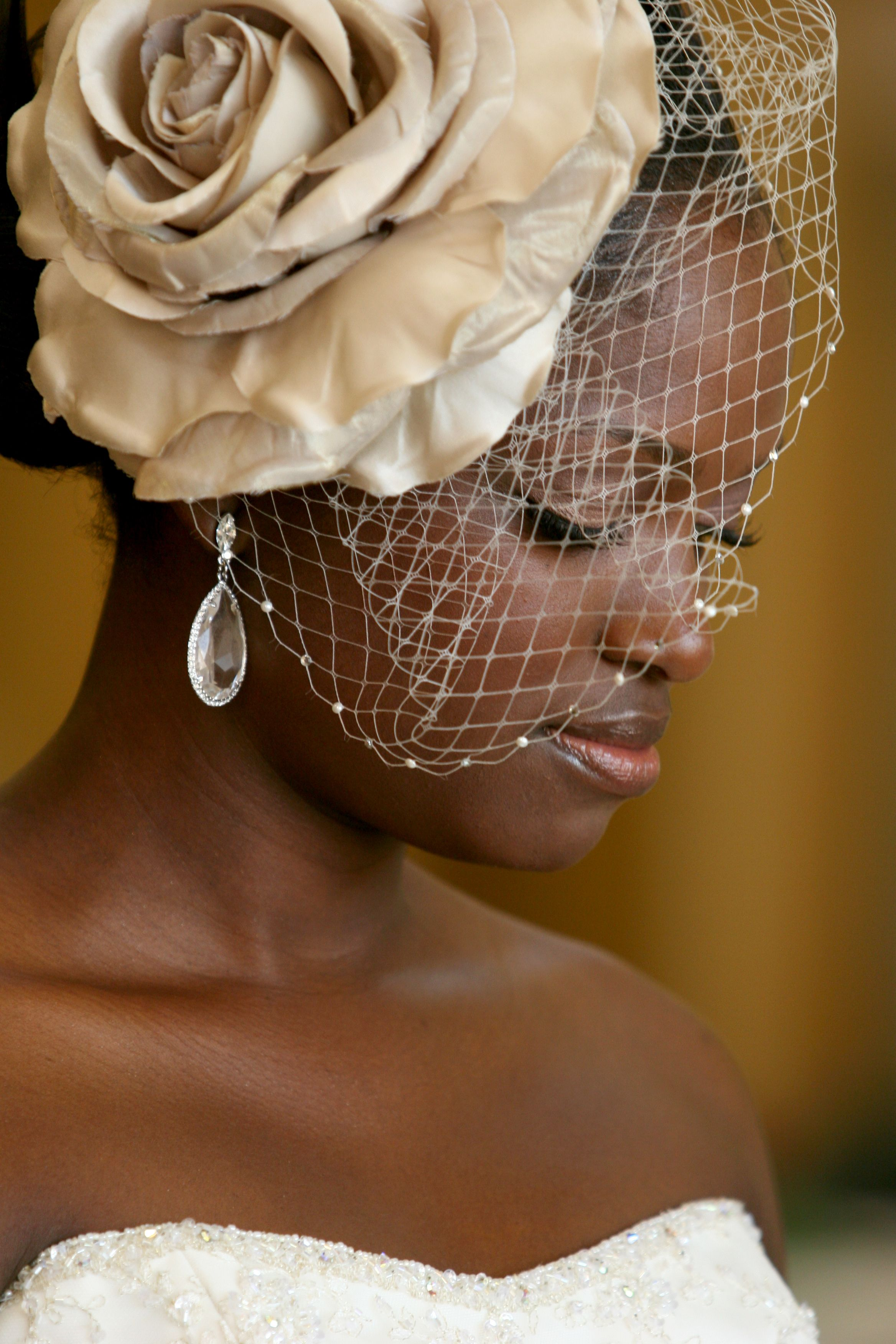 White And Gold Wedding Gold Birdcage Veil And Feather Fascinator