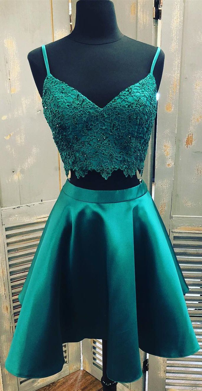 Green 2 piece homecoming dress  straps two piece short homecoming dresses green homecoming dresses