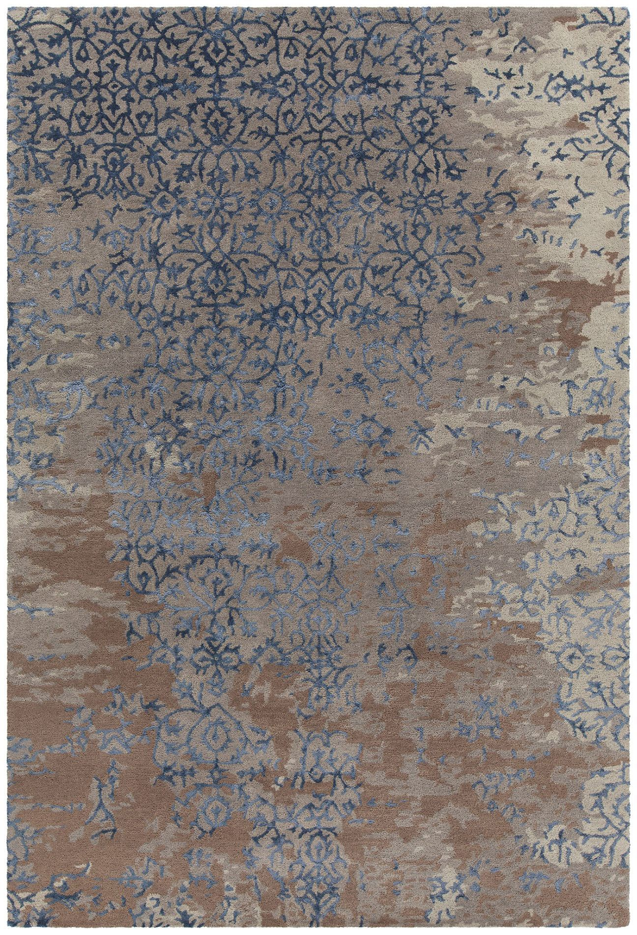 Rupec Patterned Rectangular Contemporary Area Rug Grey Blue Brown Contemporary Area Rugs Brown Area Rugs Area Rugs