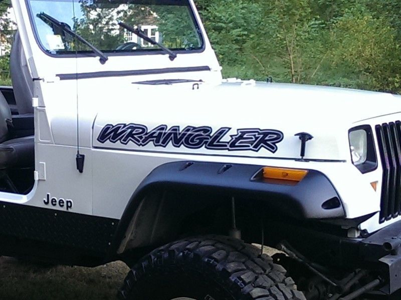 yj tj jk mj rubicon Jeep Wrangler Hood stickers decals PICK COLOR 2pc set