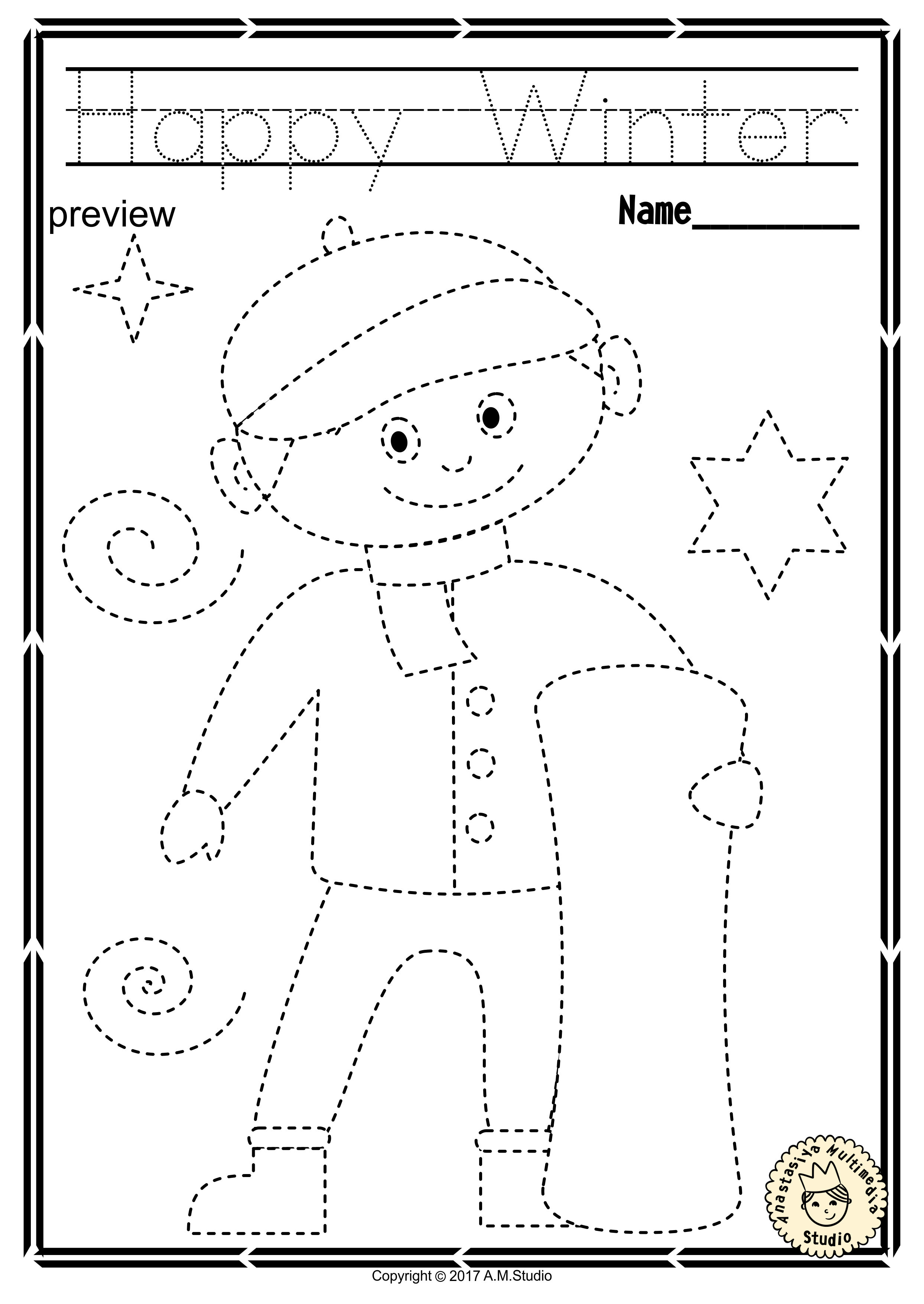 Winter Trace And Color Pages Fine Motor Skills Pre
