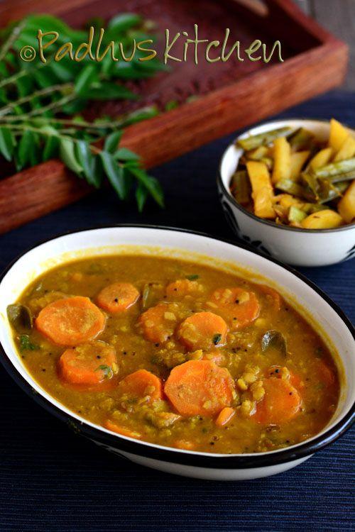 Padhuskitchen carrot sambar recipe no onion no garlic carrot sam food forumfinder Images