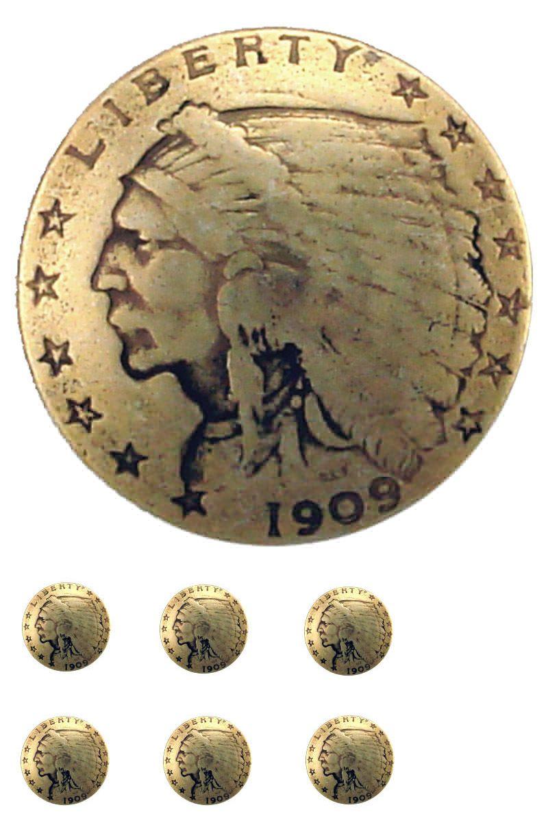 "Western Equestrian Cowboy Tack Indian Head Penny Concho 3//4/"""