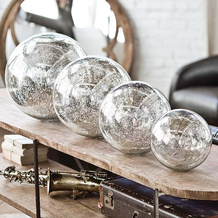 Mercury Glass Decorative Balls Mercury Glass Spheres 3  The Interior  Pinterest  Mercury