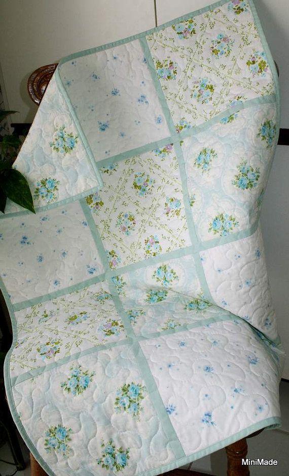 Modern Vintage Baby Quilt Pastel Aqua Vintage Sheets