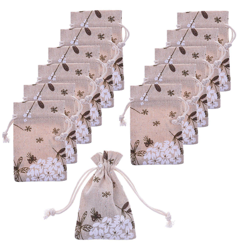 Bcp pack of 12pcs small linen bags burlap drawstring bag