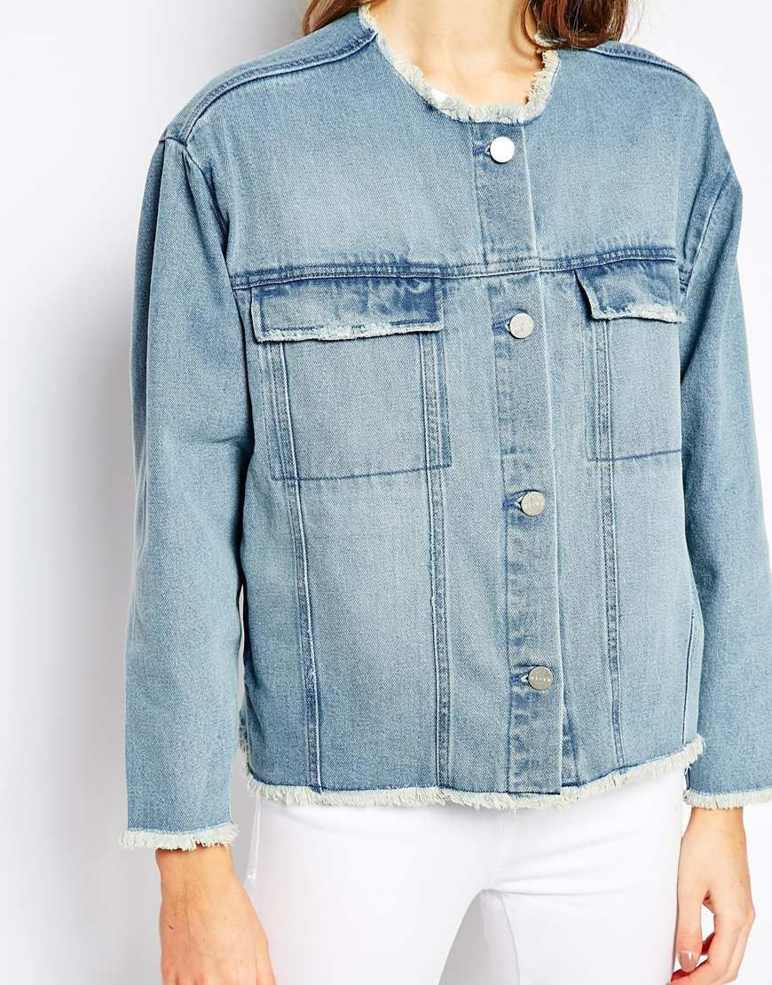 Image 3 of Waven Hanna Crop Denim Jacket With Raw Edge Detail