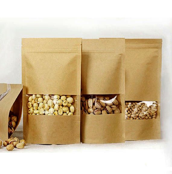 100 KRAFT BAGS Ziplock Bags With Transparent Window