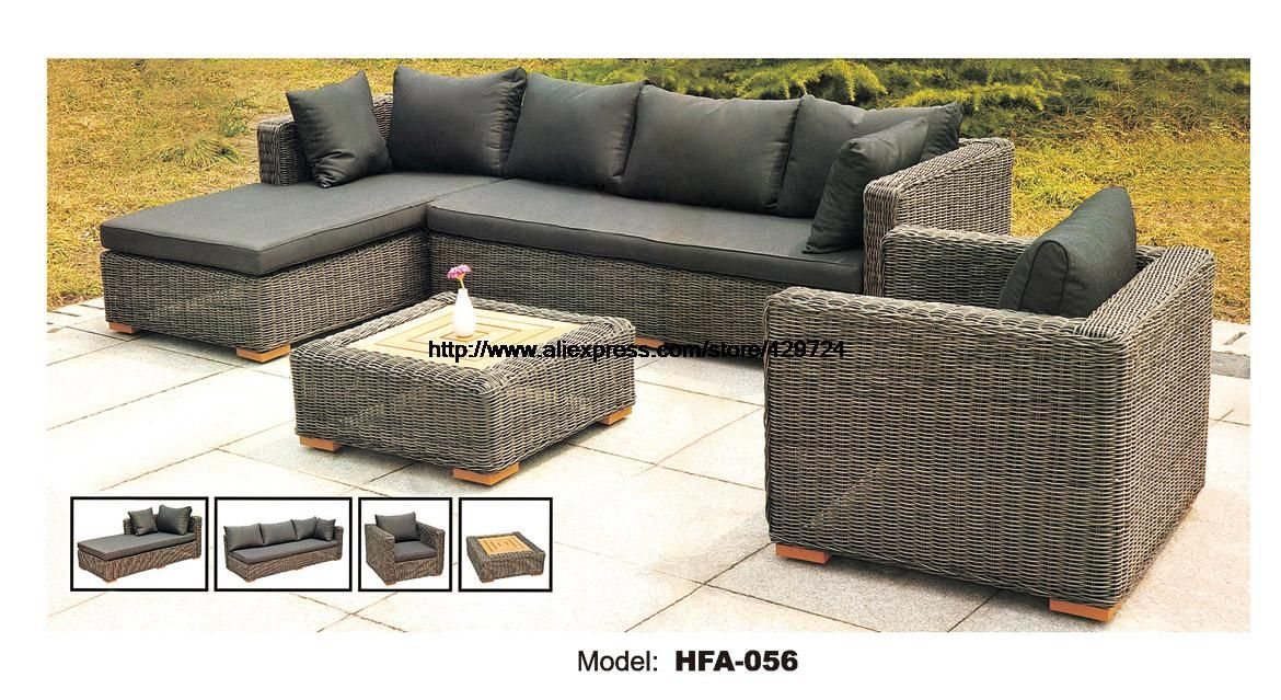 Dark Gary Rattan Sofa Classic L Shaped Vine Sofa Chair Table Furntiure Set Garden Out Outdoor Furniture Style Rustic Patio Furniture Colorful Outdoor Furniture