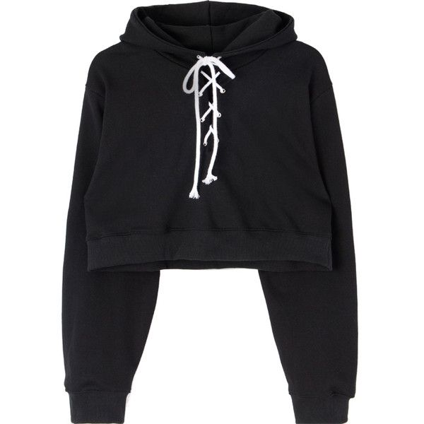 1f7982fb978 Lace-Up Front Cropped Hoodie ($34) ❤ liked on Polyvore featuring tops,  hoodies, lace up crop top, hooded sweatshirt, crop top, loose crop top and lace  up ...