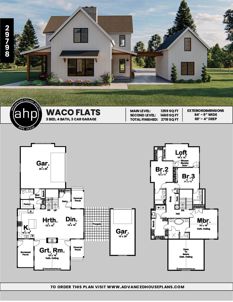 2 Story Modern Farmhouse Style House Plan | Waco Flats #modernfarmhouse