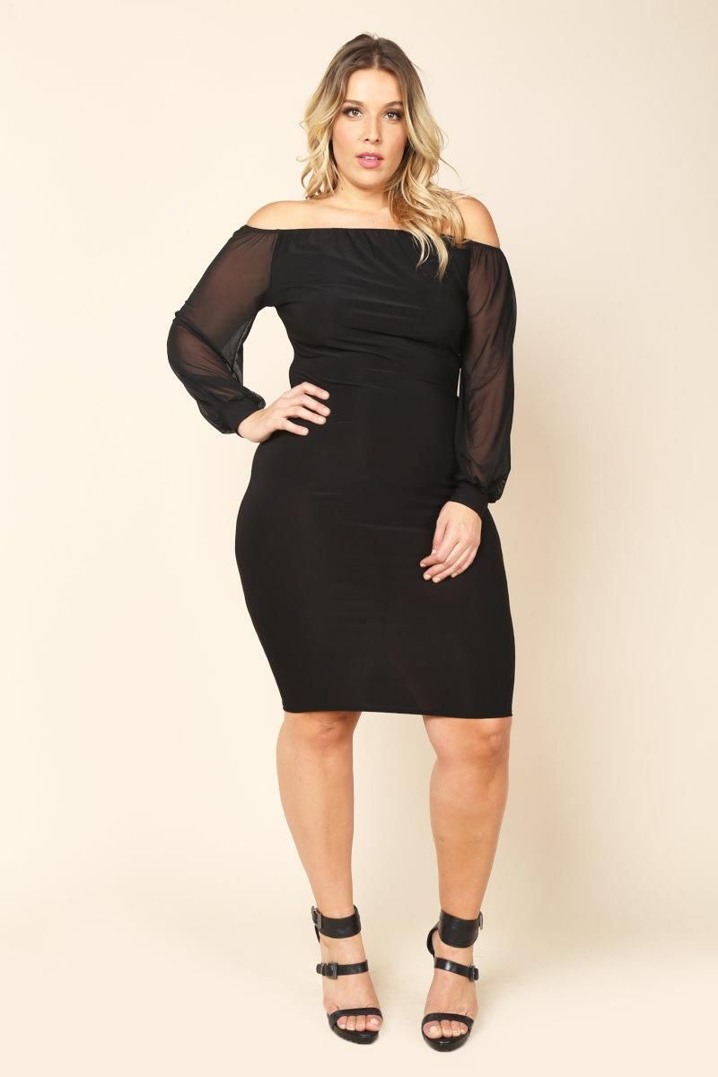 0206f58c19f08 A plus size midi bodycon dress with an off-the-shoulder neckline. Features  long sheer mesh sleeves. Solid colored.