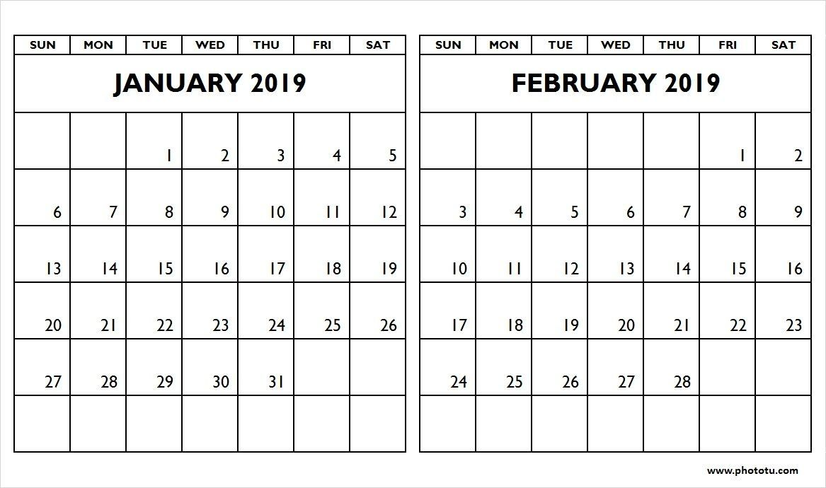 Calendar For January And February 2019 January February 2019 Two Month Calendar – Phototu in January And