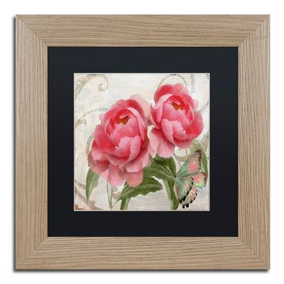 "Trademark Art 'Apricot Peonies I' Framed Painting Print Size: 11"" H x 11"" W x 0.5"" D, Mat Color: Black"