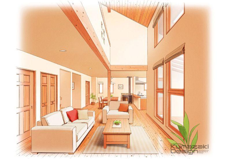 K37 住宅内観 建築パース 手描きパース 吹き抜けのあるリビング 木調