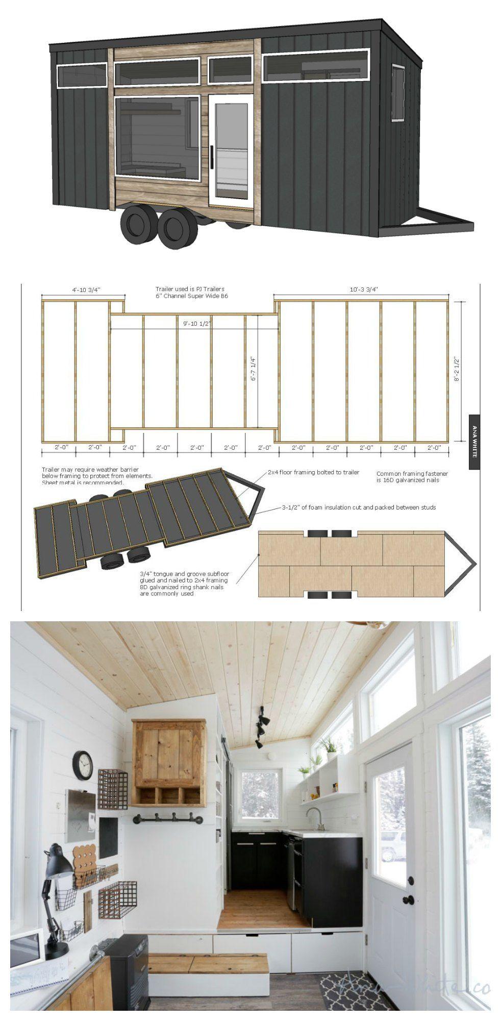 Full framing plans for Ana White\'s Open Concept Rustic Modern Tiny ...