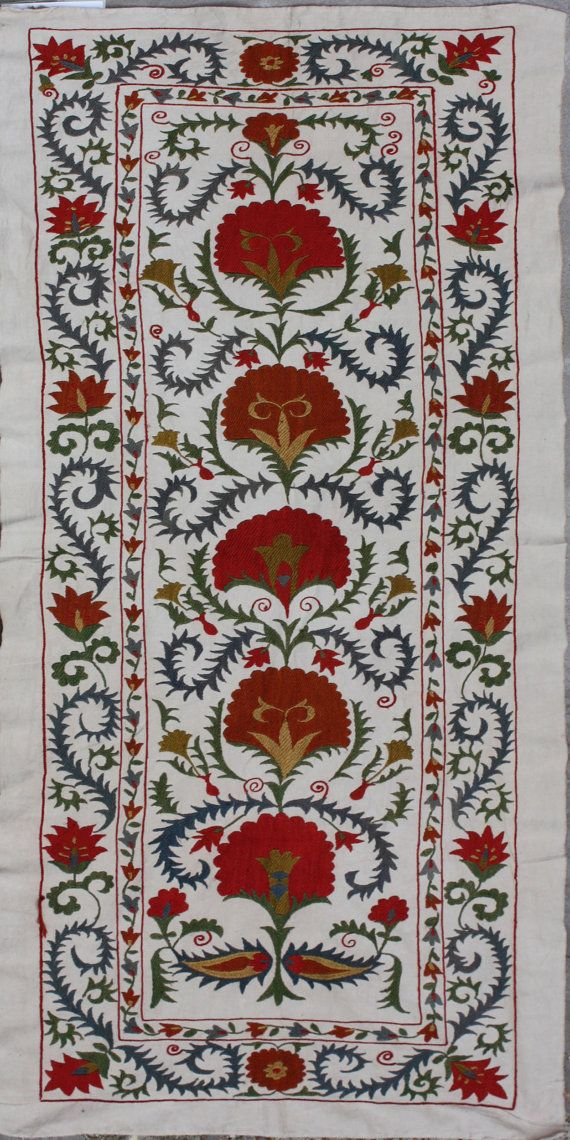 Dimensions:   Size cm: 156 x 65 Size ft: 5'2 x 2'2  Silk Suzani Embroidery, Handmade Silk Suzani Wall Hanging, Design handmade silk suzani wall hanging, Suzani is a best oriental decoration. It can be used as wall hanging, bedcover or tablecloth.  DESCRIPTION  Silk Suzani Embroidery - This piece is around 1 to 3 years old and in very good condition.  £195.00