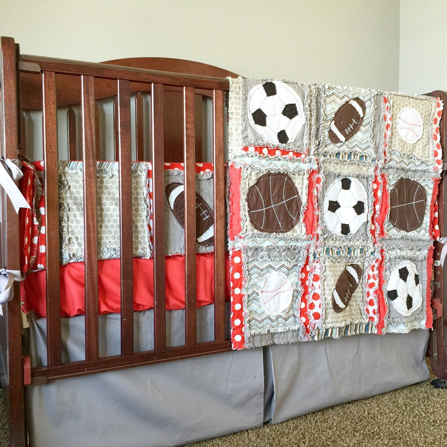 Custom Crib Set Vintage Sports Themed With Crib Size Rag