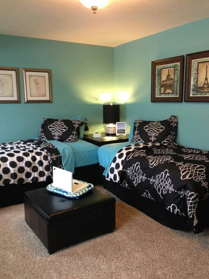 Guest and/or kids room idea Chambre turquoise et noir Pinterest