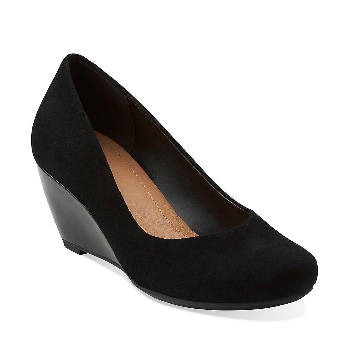 Womens Shoes Clarks Bassett Mine Black Suede