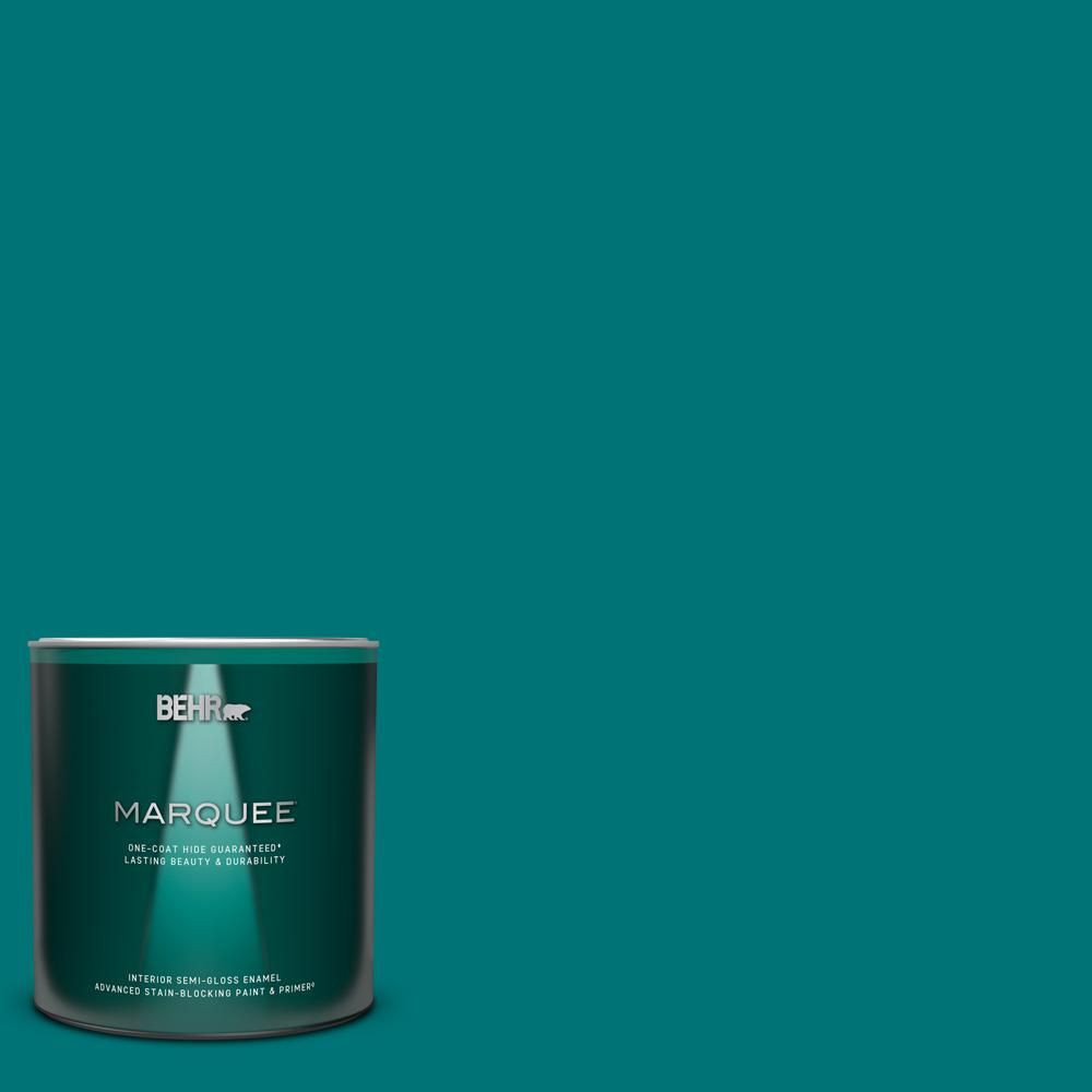 Behr Marquee 1 Qt T15 3 Essential Teal Semi Gloss Enamel Interior Paint Primer 345304 The Home Depot Behr Marquee Behr Marquee Paint Behr