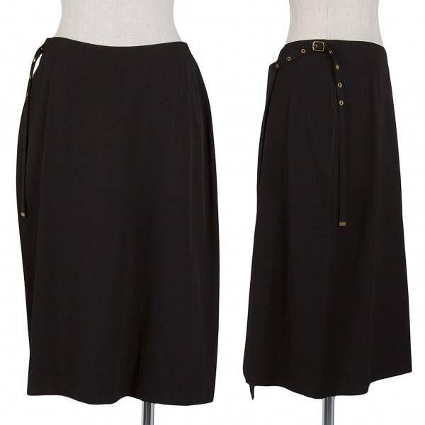 ジャンポールゴルチエ クラシックJean Paul GAULTIER CLASSIQUE ベルトデザイン巻きスカート 黒40