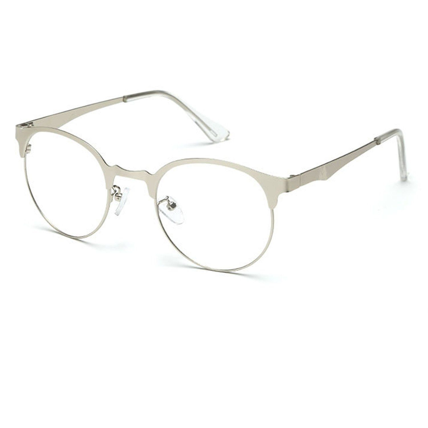 32acdd464981 Amazon.com: TIJN New Round Metal Non-prescription Glasses Frame with Clear  Lens: Sports & Outdoors