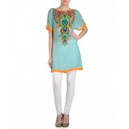Sky Blue Printed Tunic with Multicolor Yoke