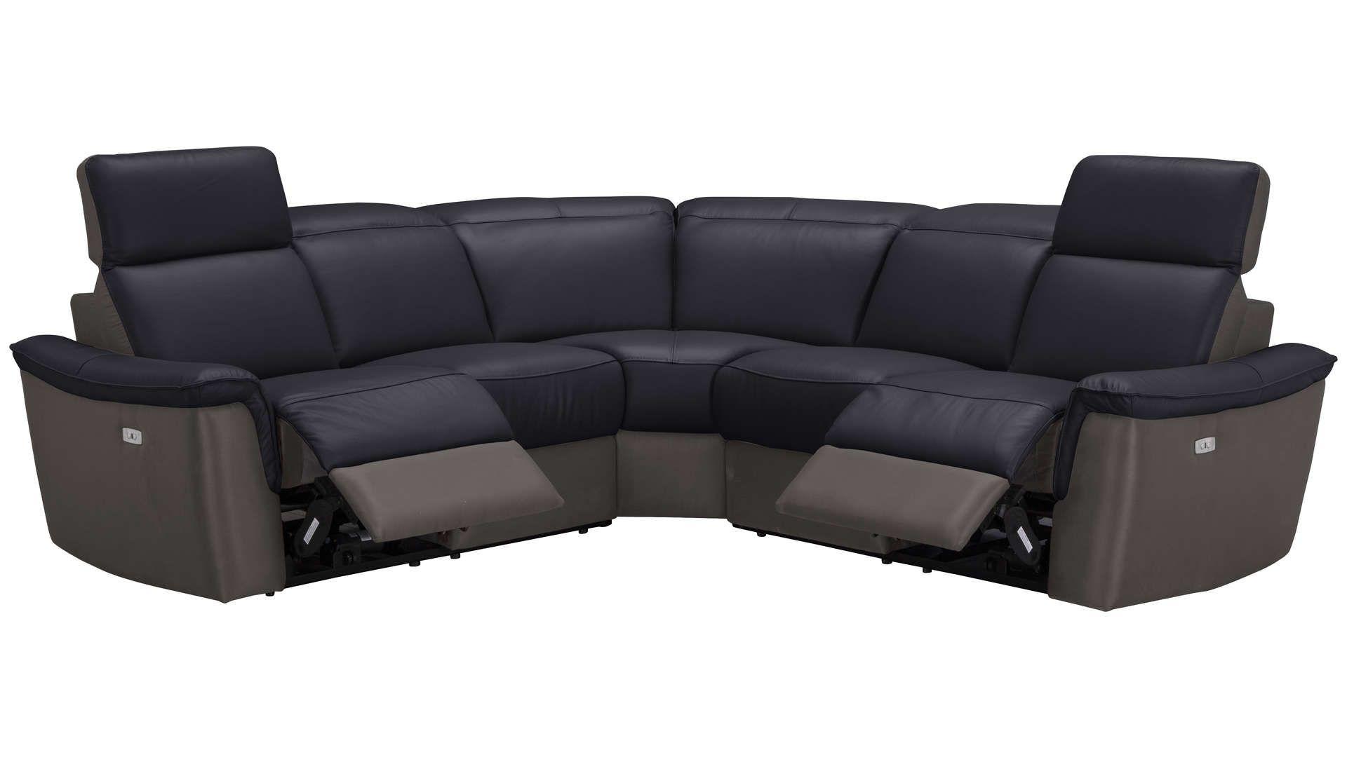 Canape D Angle Relaxation Electrique 5 Places En Cuir Tissu Milton