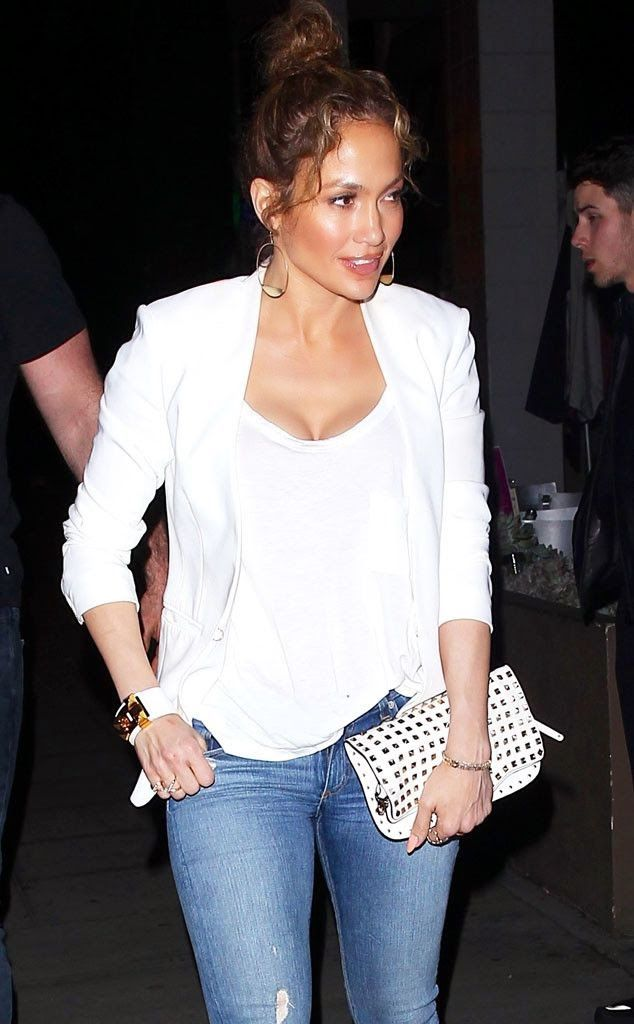 1e2ebc2aa03f Jennifer Lopez looks amazing in a white tee and blazer - get her look for  less at www.wearitforless.com!