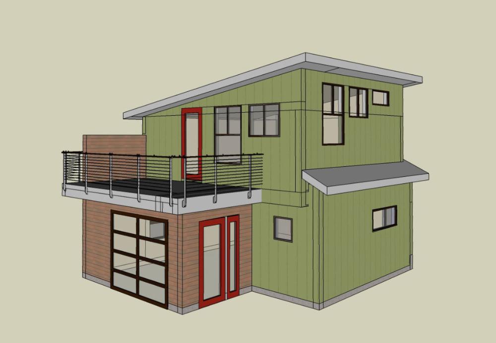modern Seattle backyard cottage DADU Cottage, Backyard