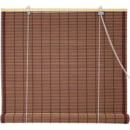 Burnt Bamboo Roll Up Blinds Mahogany Brown